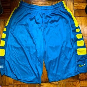 Nike elite blue and yellow shorts size: XL